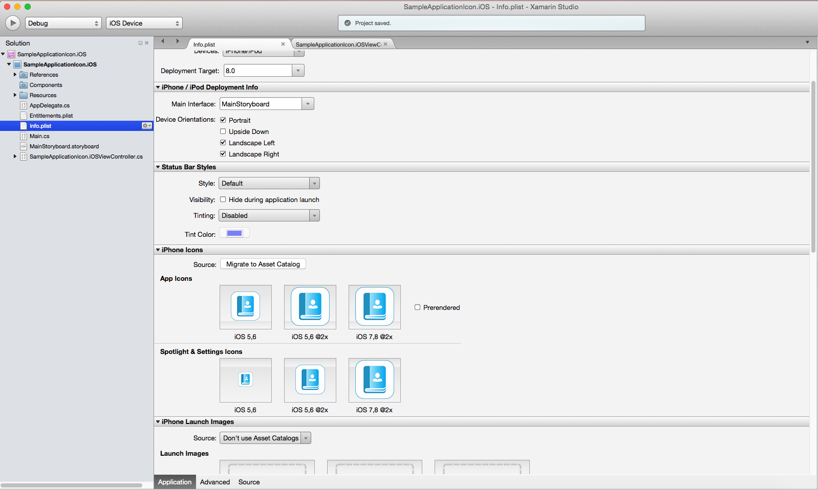 How to set Application icons and launch images in Xamarin